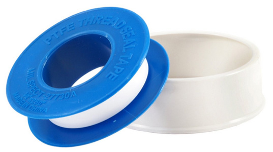 A roll of ptfe white teflon thread sealant tape