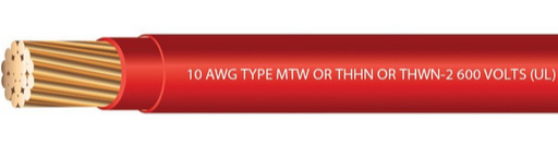Red 10 gauge type T90/THWN/THHN wire, stranded